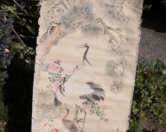 SALE  Antique Asian Art Japanese Water Color Featuring Storks