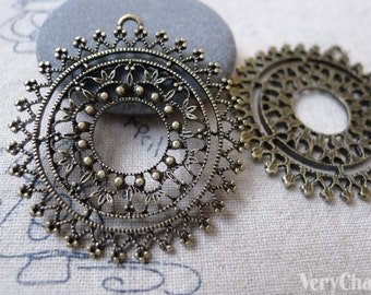 Flower Ring Pendants Antique Bronze Large Filigree Circle Charms  40mm Set of 10  A7148