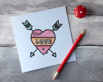 True love tattoo card, rockabilly anniversary cards, valentines cards for him, vintage style card, boyfriend alternative valentines card