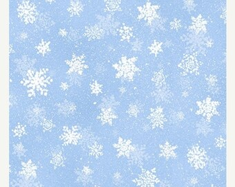 JUST CHILLIN~blue aqua snow snowflakes on white winter  by the 1/2 yard QT fabric-25816-z