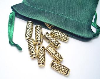 Celtic Knotwork Torpedo Bead Artisan Welsh Pewter Lead-Free Nickel-Free