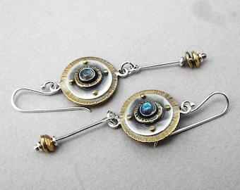 Sterling silver, brass, labradorite earrings, dangling art deco earrings, long gemstone earrings, disc dangling earrings, romantic earrings