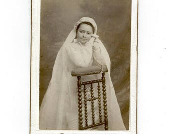 CDV First Communion French Vintage Carte de Visite Photograph PSS 3364