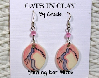 Silhouette Cats Small Oval French Wire Earrings Clay With Glass Bead Handmade GMS