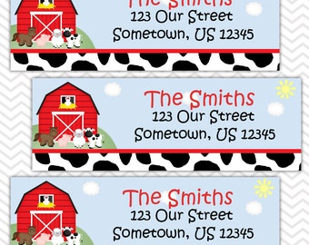 Barn Yard Red Farm Animals - Personalized Address labels, Stickers