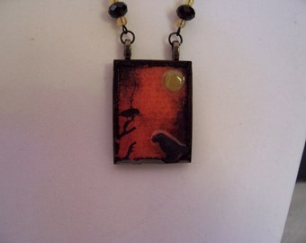 Vintage-style HALLOWEEN NECKLACE - YELLOW Jade Moon - Ceramic RAvens