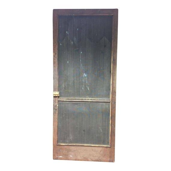 Vintage Wood Screen Door Wooden Brown Country Rustic