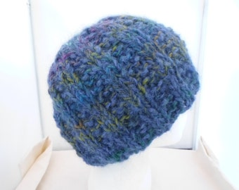 Multi Colored Alpaca and Wool Hand Knit Hat