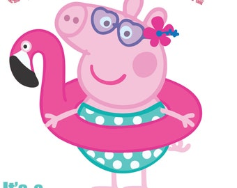 30% off Peppa Pig pool partyfile cutting and printing Layered SVG PNG DXF  Birthday Party