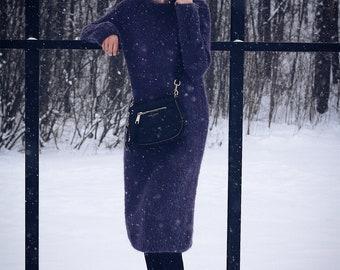 Purple 100% wool alpaca dress
