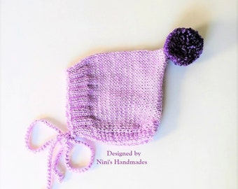 Knit Lavender Pixie Bonnet Pom Pom Hat For Fall and Winter Chunky available, Baby Bonnets, baby shower gift, Bonnet Kids apparel, newborn