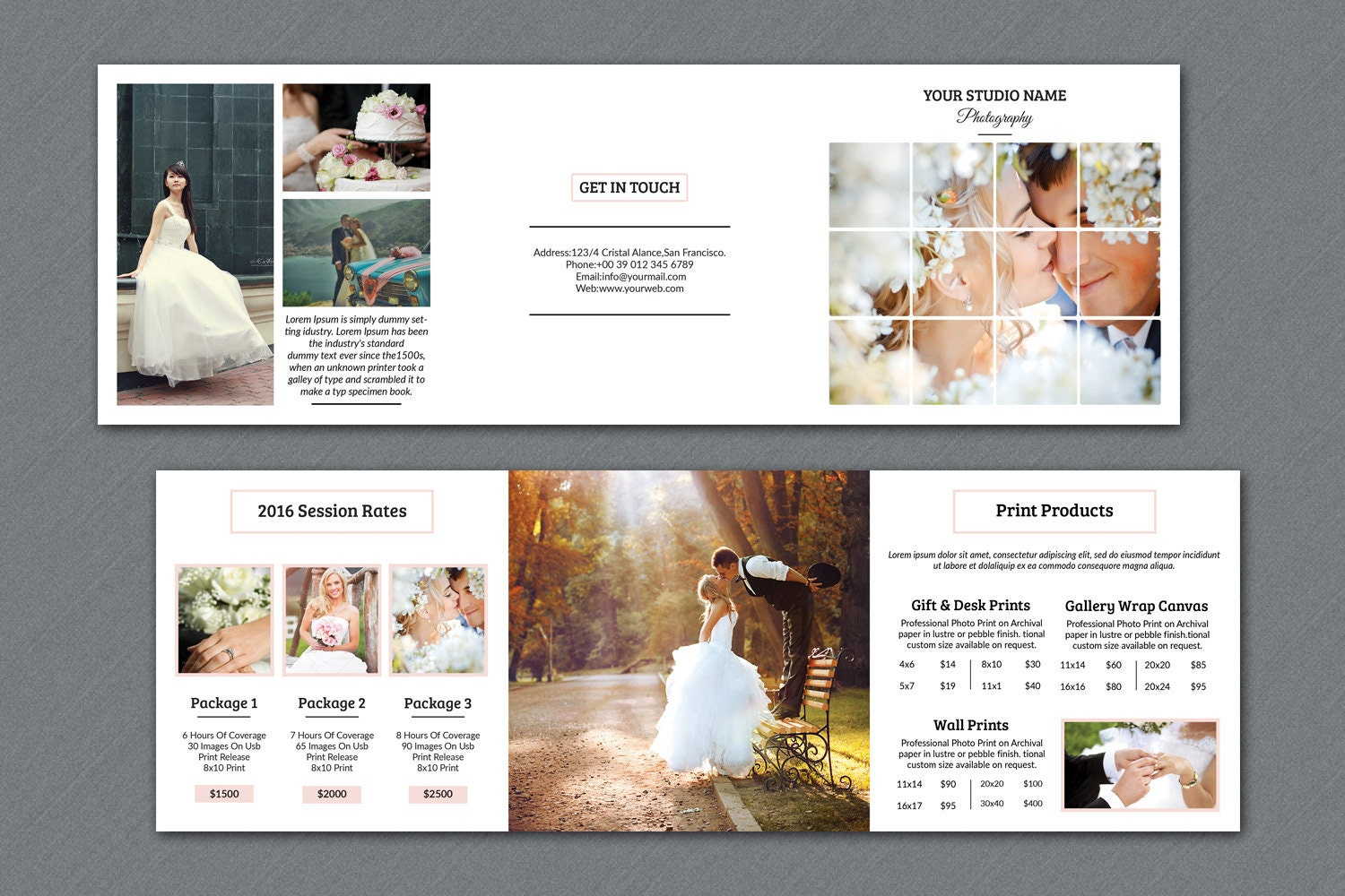 Wedding Photography Brochure X In Square Trifold Pricing - Wedding photography brochure template