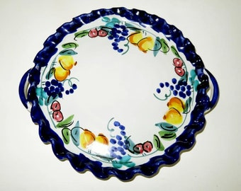 """VINTAGE ITALY CERAMIC 10""""serving plate,handles,hand painted,maybe Deruta,""""Grazie"""" series, fluted edges,fruit,grapes,navy,rose,slate blue"""