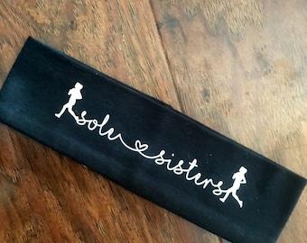 Sole Sisters headband, running headband, black headband for running