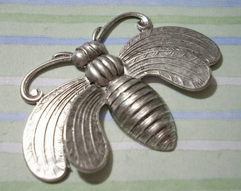 Large Oxidized Silver Bee Stamping Necklace Pendant Bee Pendant