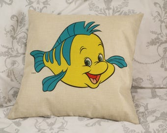 little mermaid Ariels friend flounder the fish inspired cushion cover 45 by 45 cm  gift