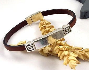 dark brown leather bracelet tutorial Kit with beads and silver plated clasp