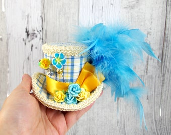 Blue, Yellow, and White Plaid Paper Flower Small Mini Top Hat Fascinator, Alice in Wonderland, Mad Hatter Tea Party, Derby