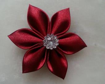 5 cm fleur tissu de satin bordeaux  petales pointus