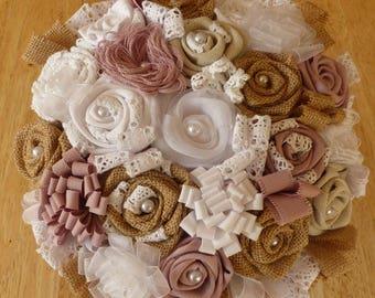 Canvas fabric and burlap bridal bouquet