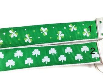 St Patricks, Shamrock, Keychain, Key fob, Wristlet