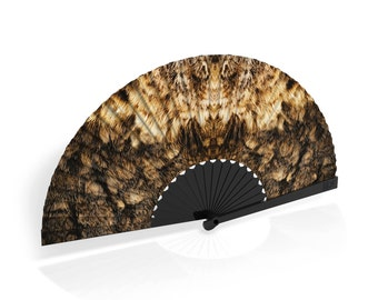 """Khu Khu Hand-Fan / Abanico with """"Tawny"""" feather print from Flight of Fancy Collection"""
