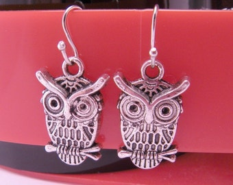 Silver Mini Hooters Owl Charm Earrings with Fish Hook Wires