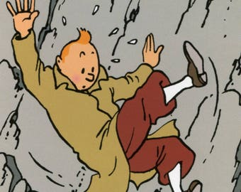 Herge Tintin Rockslide Poster Print