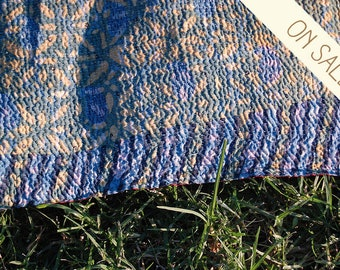 RIVER - blue heavy KANTHA quilt RUG / twin boho bedding bedspread / embroidered saree picnic blanket / India silk border