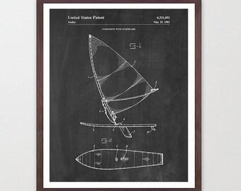 Wind Surfing - Wind Surfing Patent - Wind Surfing Art - Wind Surfing Poster - Surfing Art - Surf Poster - Surf Patent - Wind Surf - Surfer