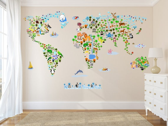 Cultural world map wall decal reusable vinyl fabric gumiabroncs Gallery