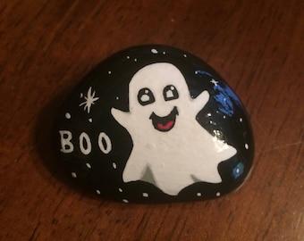 Cute ghost painted rock