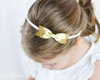 Gold Classic Ribbon Bow Headband OR Clip - Classic Bow - Satin Gold  Bow Handmade Headband - Infant to Adult Headband