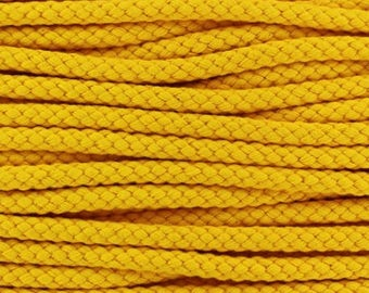 Cotton braided cord / yellow / width 7mm, 50cm cut