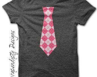 Baby Tie Iron on Shirt - Argyle Tie Iron on Transfer / Girls Pink Tie Shirt / Necktie Toddler Tshirt / Baby Girl Clothes / Digital Tee IT92G