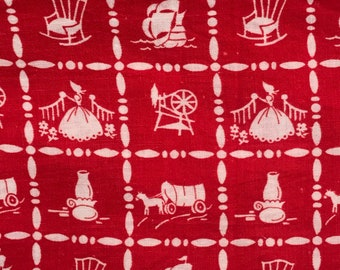 FQ Red Novelty Pioneer Colonial Antique Red Navy Blue Brown Vintage Feedsack Flour Sack Cotton Quilt Fabric