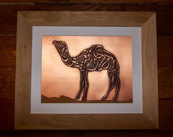 Embossed copper camel calligraphy painting