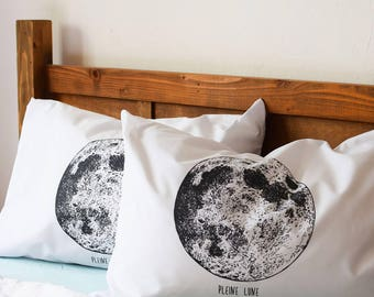 Pillow Covers - Screen Printed Pillow Cases - Set of 2 Standard Pillow Cases - Pillow Shams - Bedding - Pillows - Throw Pillows - Moon Phase