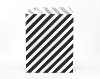 25 - Black and White Stripe Glassine Favor Bags - 5 x 7 - Party Treat Wedding Paper Bag - Acid-free Wax Food Safe Baggie Packaging Striped