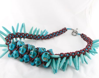 Aztec Stone and Blood Skull and Spike Turquoise Necklace Tubular Netting Tattoo