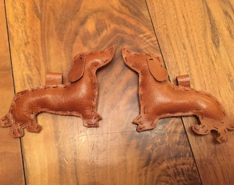 Dachshund sausage dog leather decorations