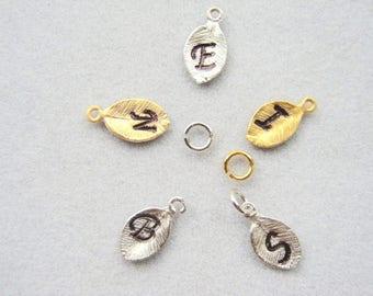 ONE Leaf, Gold Leaf, Initial hand stamped leaf charm Gold Leaf