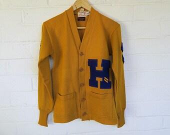 DEADSTOCK 1940s Wilson Letter Sweater / Vintage Yellow Varsity Sweater