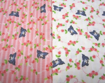 Pink and  Natural Little Bird Fabric Set Called Kewpie LOVE By Riley Blake Designs