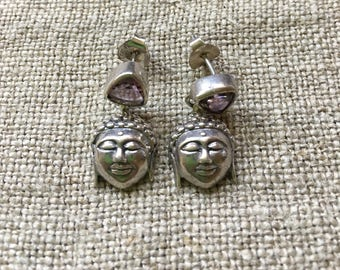 Sterling silver buddha and amethyst stud earrings