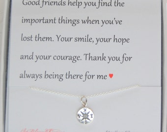 BEST FRIEND Gift, Graduation gift, Compass necklace, Miss you gift, going away, encouragement