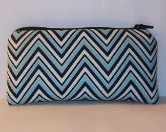"Padded Pipe Pouch, Blue Chevron Bag, Glass Pipe Case, Pipe Bag, Padded Pouch, Small Pouch, Trippy Bag, Cute Purse, Pipe Pouch - 5.5"" SMALL"