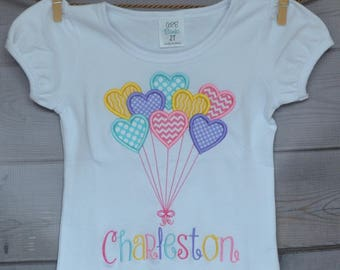 Personalized Valentine Bundle of Heart Balloons Applique Shirt or Bodysuit Girl or Boy