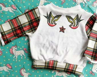 Tartan swallows jumper sweater, seconds design