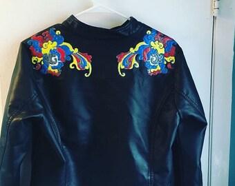 Vegan Leather Painted Ladies Motorcross Jacket size Medium